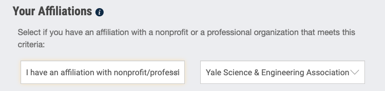 Screenshot of how to select YSEA as your FIRST affiliation.